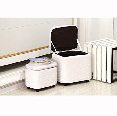 GH-YS Cube - Caja de Almacenamiento para puf otomano, reposapiés para Asiento de salón, con bisagras, pies Superiores e Inferiores, Sala de Estar, Dormitorio, Almacenamiento de Muebles, Taburete o
