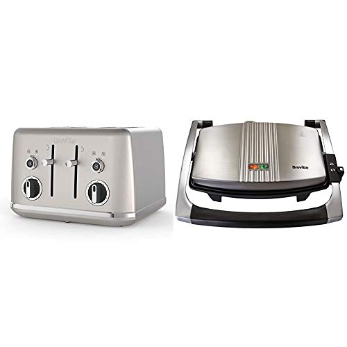 Breville Lustra 4-Slice Toaster with High Lift, Wide Slots and Independent 2-Slice Controls, Shimmer Cream [VTT851] & Sandwich/Panini Press and Toastie Maker, Stainless Steel [VST025]