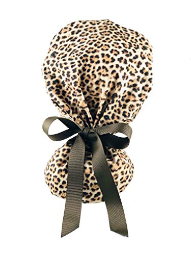 EYIP Ponytail Cap, Head Cover, Working Caps for Women with Long Hair, Brown Cheetah Print and Brown Ribbon