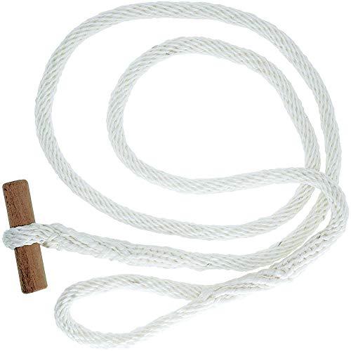Seilschlauchhalter mit Holzknebel in rot und weiß (weiß Holz)