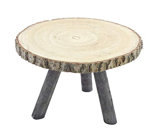 Rustikaler Beistelltisch mit Baumscheibe als Tischplatte - 34 x 23 cm - Blumentisch Blumenhocker Deko Hocker