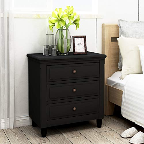 Bedside Table, 3 Drawer Nightstand Wood Storage Cabinet, Bedside Dresser Nightstand for Bedroom (Black)