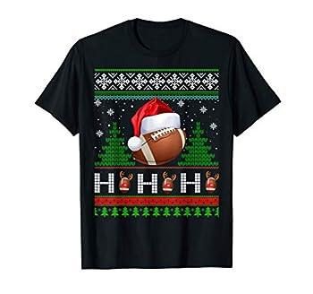 Santa Football Ugly Christmas Sweater Football Xmas Gift T-Shirt