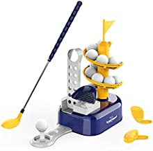 Kids Golf Toys Set Outdoor Lawn Sport Toy with 15pcs Training Golf Balls & Clubs Equipment, Indoor Exercise Game, Portable Outside Yard Active Gifts for 3 4 5 6 7 8 Year Olds Boys Girls Toddlers