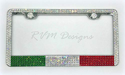 Bling Italian Flag License Plate Frame made with Swarovski Crystals - Car Jewelry -  RVMdesigns