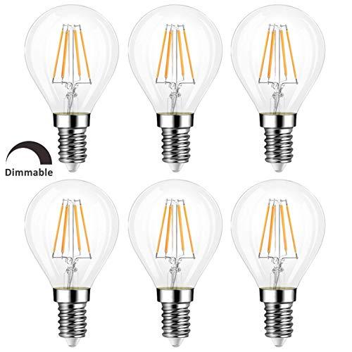G45 E14 Tropfenform Dimmbar Warmweiß 2700K, Retro Stil, 400LM, LED-Filament 4W Ersetzt 40W Glühlampe, AC 220V, Klein E14 LED Warmweiss Dimmbar für Esstischlampe/Deckenlampe, 6er-Set