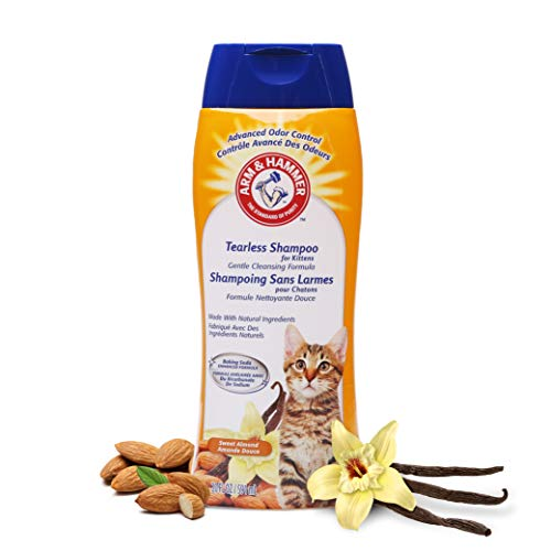 Arm & Hammer Tearless Kitten Shampoo for Cats | Natural Cat Shampoo for Odor Control with Baking Soda, 20 Fl Oz Gentle Cleansing Kitten Shampoo in Sweet Almond Scent