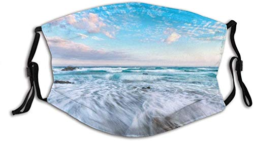 Face Mask Japan Landscape Sunset Sea Water Rock Nature Shore Sky Purple Clouds Beach Calm Blue Waves Coast Horizon Nikon Surf Light Balaclava Reusable Windproof Mouth Bandanas Made in USA