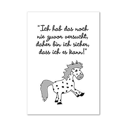 """Poster, Wanddeko, Bild, Kunstdruck, Motivation, Pony, Pferd, Kinderzimmer, Ich mach mir die Welt.\""""Ich hab das noch nie zuvor versucht.\""""ohne Rahmen"""