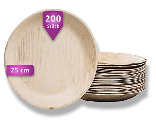 Waipur Bio Palmblattteller - 200 Teller Rund Ø 25 cm - Premium Einweggeschirr kompostierbar - Umweltfreundliches Partygeschirr - Palmblatt Geschirr