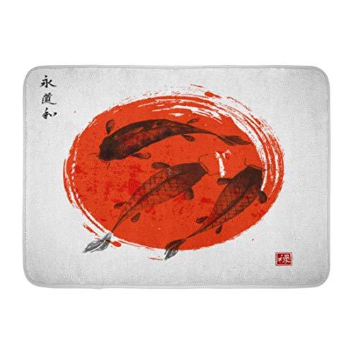 Felpudos Tres Carpas Koi y Sol Rojo en japonés Sumi E Contiene jeroglíficos Eternity Way Harmony Well Alfombra de baño