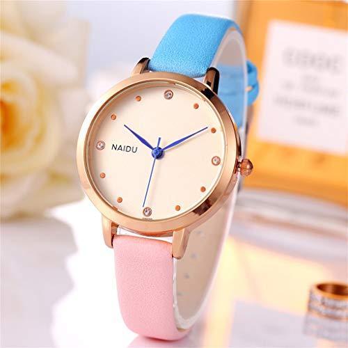 Janly - Reloj de pulsera para mujer con correa de color cosido, de cuarzo, para el día de San Valentín