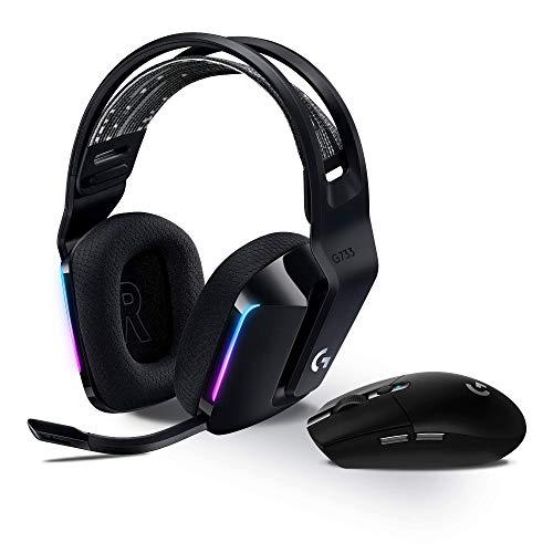 Logitech G305 Lightspeed kabellose Gaming-Maus + Logitech G733 Lightspeed Kabelloses Gaming Headset mit Kopfbügel