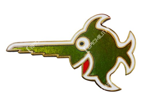 WW2 deutscher 9. Flottille U-Boot Cap Badge – Lachender Swordfish Pin in grün, rot, grün, One Size