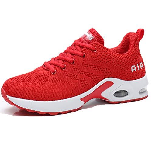 Dannto Femme Air Baskets Chaussures de Sport Ultra-légères pour Homme Chaussures de Sport à Coussin d'air Baskets Mode Chaussures pour Garçon Fille(Rouge,38)
