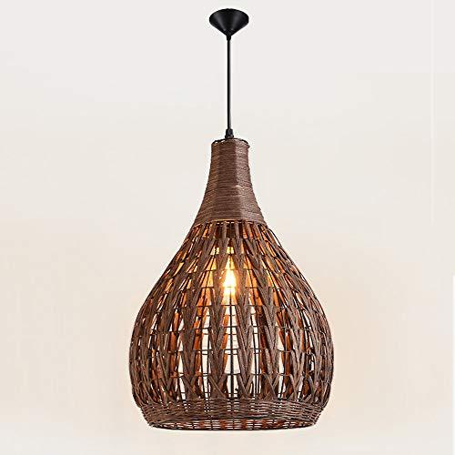ASF15 Rattan Bamboo Nest Deckenpendelleuchte Chinesische antike Kronleuchter Lampe Jahrgang Wicker Rattan Hängeleuchte Wohnzimmer Hotel Restaurant Hängelaternen (Size : S-34 * 33CM)