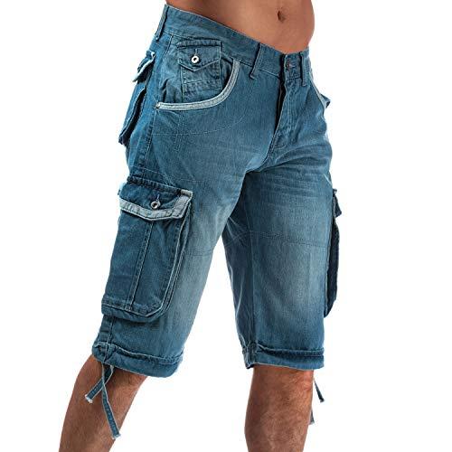 Mens Crosshatch Black Label Newburg Cargo Denim Shorts in Light Blue