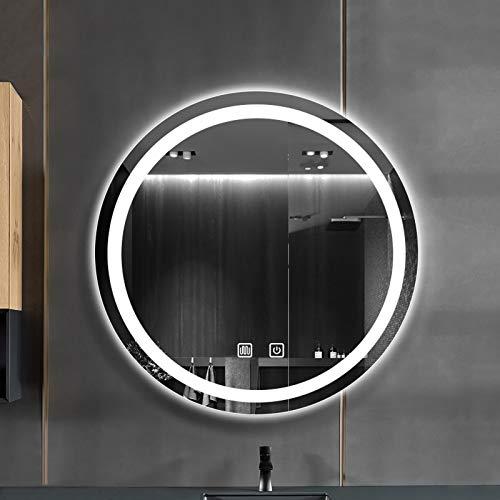Espejo De Pared Baño Redondo, con Función Antiniebla Espejo LED Premium, con 3 Modos De Luces Ajustables Interruptor Táctil, Espejo De Baño, Espejo De Vanidad Montado En La Pared, Luz Blanca/Luz Cál