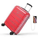reyleo maleta cabina rígida 100% polipropileno equipaje de mano con puerto de carga usb, candado tsa, 4 ruedas silenciosas (57cm - 31.5l) (rojo)