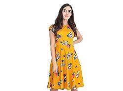 Rudraaksha Floral Printed Knee Length Dress for Women