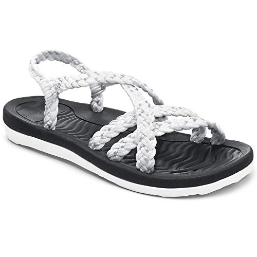 Comfortable Outdoor Sandals for Women, Arch Support Slide Sandals with Adjustable Straps, Soft Walking Sandals for Hiking/Travel/Beach size 9