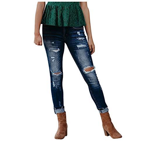 NPRADLA Damen Jeans Jeanshose Damen Hose mit Spitze Strass und Blumenstickerei bis Übergrösse