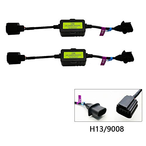 AnyCar Led Headlight Decoder H13 9008 Canbus Resistor Anti-flicker Harness Headlight Bulb Decoder for LED Headlight Warning for Ford Mustang/Ford E350/Chevrolet Comero (H13/9008)