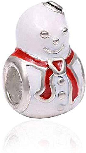 ZPPYMXGZ Co.,ltd Collar de Moda 1 unids/Lote Color Plata Esmalte muñeco de Nieve Cuentas Encanto Ajuste Pulsera Collar joyería Original