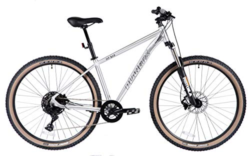 Planet X Fat Baz Mountain Bike Bicycle With Disc Brake MTB Cycle For Men And Women (Hi Gloss Polished Lacquer Silver Medium)