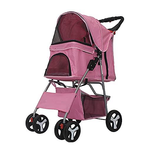 Foldable Pet Stroller, 4 Wheels Pet Stroller with Weather Cover & Storage Basket...