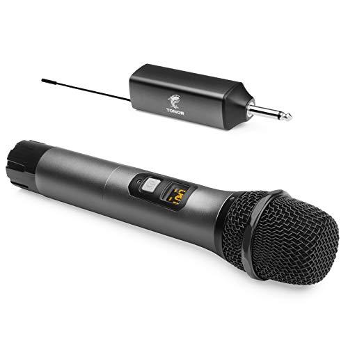 "Micrófono Inalámbrico, TONOR Sistema de Micrófono de Mano Inalámbrico de Metal UHF con Receptor Receptor, Salida de 1/4"" para Amplificador, Sistema PA, Máquina de Karaoke, 60m (TW-620)"