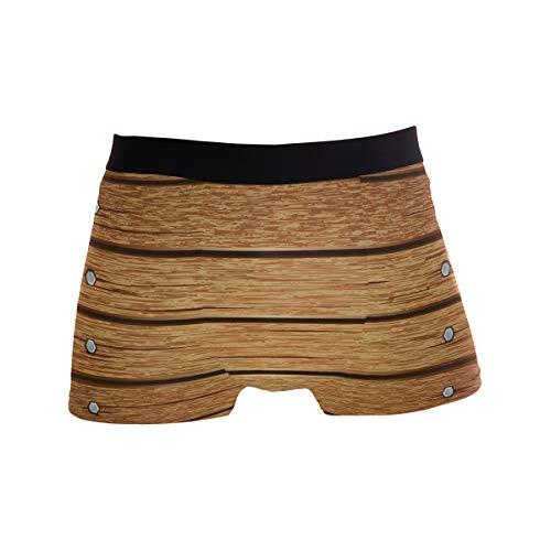BONIPE JERECY Retro Vintage Holz Boxershorts Herren Unterwäsche Jungen Stretch Atmungsaktiv Low Rise Trunks S Gr. L, Mehrfarbig