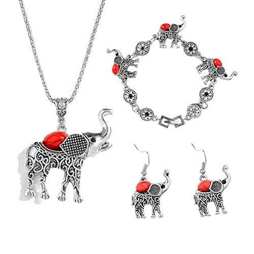 Conjunto de joyería creativa europea y americana Conjunto de elefante con incrustaciones de turquesa retro Collar Pulsera Pendientes-Rojo