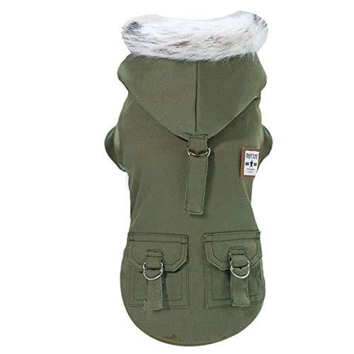 GJFeng hond kleding herfst en winter huisdier kleding Teddy Schnauzer katoen militaire katoenen jas, XXL, Groen
