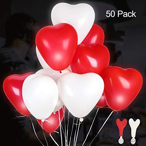 GIGALUMI Paquete de 50 Luces LED para Globos de Fiesta Luces de Fiesta fijas en Forma de corazón Blanco y Rojo Dura 12 Horas, Ideal para Bodas, cumpleaños, el día de San Valentín