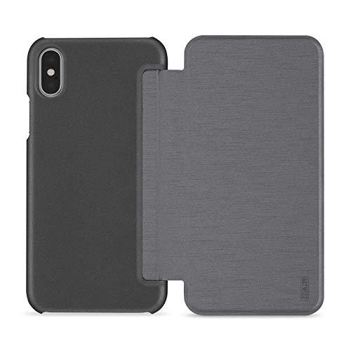 Artwizz SmartJacket Etui für iPhone X - Schutz-Hülle im Metall-Look mit Frontcover, Rückseitenschutz und geschmeidigen Grip - Designed in Berlin - Full-titan - 6458-2174