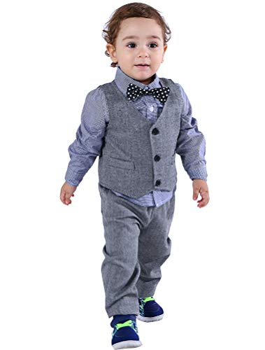 Abolai Baby Boys' 4 Piece Vest Set with Shirt,Vest and Pant Grey 80