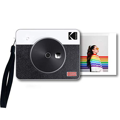 "Kodak Mini Shot 3 Retro Portable Wireless Instant Camera & Photo Printer, Compatible with iOS, Android & Bluetooth, Real Photo HD (3""x3"") 4Pass Technology & Laminated Finish, Premium Quality – White"