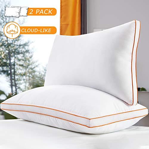 Maxzzz Almohadas Antiácaros Pack 2 Almohadas de Hotel 42x70 cm Almohadas Transpirable Firmeza Media con Suave Fibra 3D +Fibra de Soporte 7D