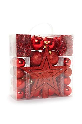 HEITMANN DECO Weihnachtsbaum-Schmuck - rot - 45-teilig - Set inkl. Baumspitze, Kugeln, Perlketten und Girlanden - Kunststoff
