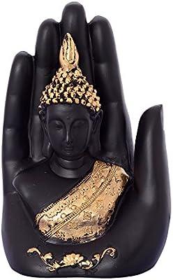 eCraftIndia Golden Handcrafted Palm Buddha Polyresin Showpiece (12.5 cm x 7.5 cm x 17.5 cm, Black)