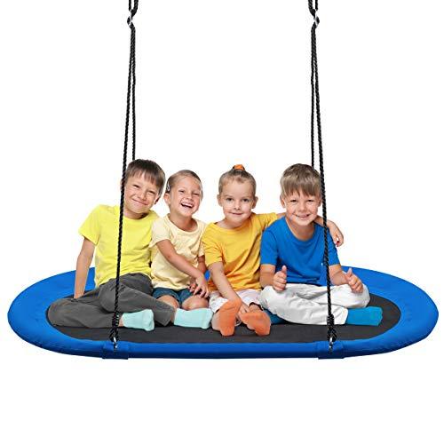 COSTWAY 150 x 80 cm Ovale Nestschaukel, Tellerschaukel mit 100-160cm höhenverstellbarem Seil, Kinderschaukel bis 300kg belastbar, Schaukel für Indoor und Outdoor (Blau)