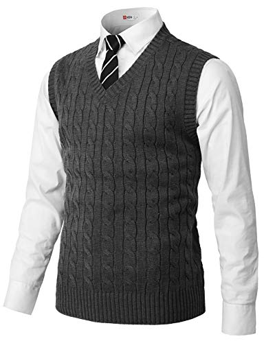 H2H Mens Casual Slim Fit Pullover Sweaters Knitted Vest Charcoal US L/Asia XL (CMOV052)