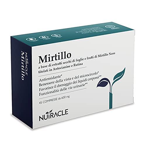 NUTRACLE Mirtillo nero 45 compresse da 600mg | Aiuta Microcircolazione e Benessere della Vista | Titolato in Antocianine e Rutina | Ricco di Vitamine e Nutrienti