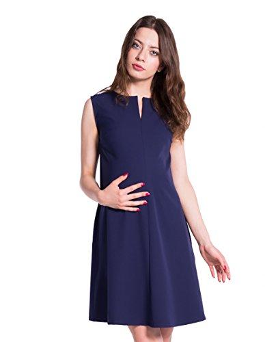 Damen Umstands- Kleid Nursing ärmelloses Kleid mit sportlichem Touch Farbe: Marine Gr. M