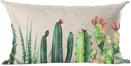 Mesllings Federa per cuscino decorativo, dipinto a mano, pittura a olio, acquerello, cactus, fiori rosa, decorazione lombare, per casa, soggiorno, letto, divano, auto, in cotone e lino, rettangolare, 30,5 x 50,8 cm