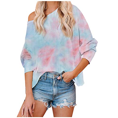 Lowest Prices! Toimothcn Womens Tie-Dye Crewneck Long Sleeve Sweatshirt Plus Szie Loose Pullover Top...