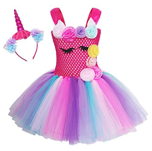 WonderBabe Vestido De Disfraz De Princesa Unicornio para Niñas con Temática De Cumpleaños Disfraz De Unicornio De Halloween Disfraz De Tutú De 4-5 Años