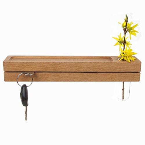 Rasch Design Schlüsselbrett aus Holz mit Ablage und Reagenzglas als Vase | Holz Wandmontage Blumenvase (Buche)