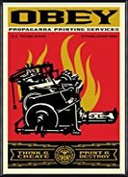 ポスター オベイ Print and Destroy/Shepard Fairey 手書きサイン入り 額装品 アルミ製ハイグレードフレーム(ブラック)